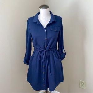 Francesca's Blue Rain Button Down Dress